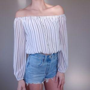 Guess Off-Shoulder Bardot Pinstripe Crop Top